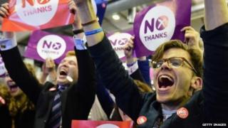 "Jubilant ""No"" campaigners"