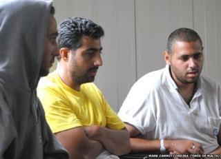 From left: survivors Mohammed Ali-Amadalla, Mamoun Dougmoush and Ibrahim Ali-Amadalla in Malta