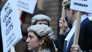 Lawyers protesting outside Parliament