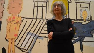 Rose Wylie with her painting PV Windows and Floorboards