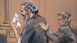 Egyptian Adel Abdul Bary, 54, is consoled as he wipes away tears while facing U.S. District Judge Lewis Kaplan (not pictured) in a Manhattan court in New York on September 19, 2014, in this courtroom sketch