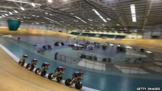 The men's team pursuit training in July in Newport