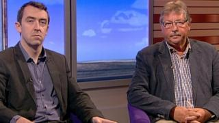 Sinn Féin MLA Daithí McKay and the DUP's Sammy Wilson hold differing views on whether extra powers should be given to Stormont