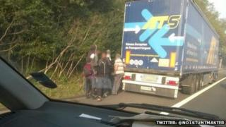 Suspected illegal immigrants on M25 in Surrey