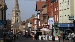 Gloucester town centre with cathedral in background