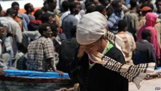 Eritrea migrants arriving on the Italian island of Lampedusa
