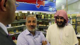 Murad Batal al-Shishani (left) meets Marwan Shahadeh (centre) and Abu Mohammed al-Maqdisi in Amman