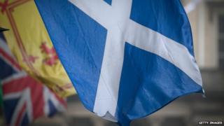 Scottish and British flags