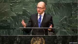 Ukraine Prime Minister Arseniy Yatsenyuk speaks at the 69th United Nations General Assembly in New York City, 24 September 2014