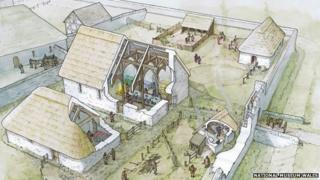 Artists' impression of how the Llys Rhosyr on Anglesey settlement looked