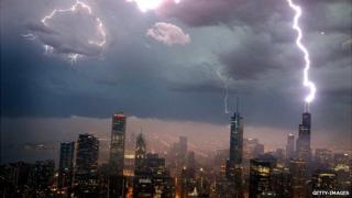Lightning storm over Chicago