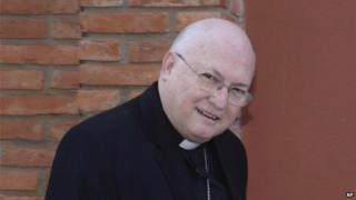 Bishop Rogelio Ricardo Livieres Plano walks to church in Ciudad del Este, Paraguay on 25 July 2014