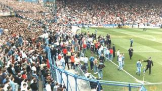 Fans escaping pens during Hillsborough disaster