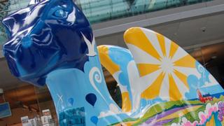 A painted sculpture for the Go Go Dragons trail in 2015