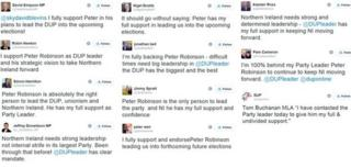Tweets in support of DUP leader Peter Robinson