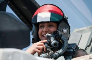 Major Mariam al-Mansouri in her F-16 jet, in an image from 13 June
