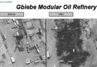 Photos released on 25 September by the Pentagon show the Gbiebe Modular Oil Refinery in Syria before (left) and after air strikes