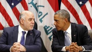 US President Barack Obama meets with Iraqi Prime Minister Haider al-Abadi during the United Nations General Assembly in New York 24 September 2014