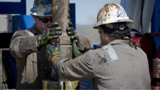 Workers at a shale drilling site in Pennsylvania