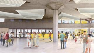 An artist's impression shows the Queen Elizabeth Hall Foyer after the repair and maintenance project.