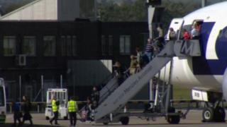 Passengers disembark