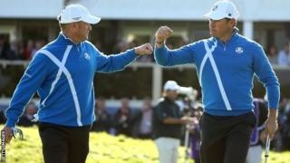Jamie Donaldson and Lee Westwood at the Ryder Cup