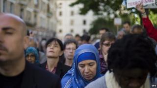 Demonstrators at Great Mosque
