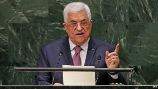 Palestinian President Mahmoud Abbas speaks during the 69th session of the United Nations General Assembly at United Nations headquarters in New York, New York, USA, 26 September 2014