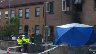 Police cordoned off the scene of the fatal house fire in Bray