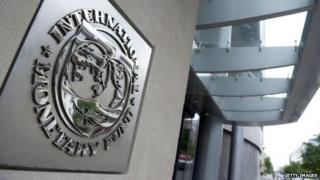 The International Monetary Fund nameplat