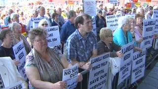 Protestors at Senedd over changes to Prince Philip Hospital, Llanelli