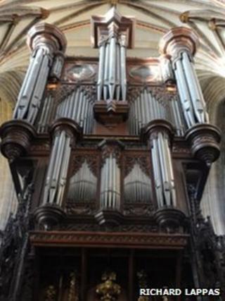Exeter Cathedral's organ. Pic: Richard Lappas