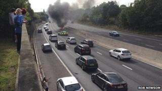 Scene of car fire on A1 (M)