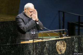 Narendra Modi bows after addressing the UN General Assembly in New York, 27 September