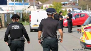Police at the marina in Neyland