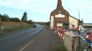 Crash scene at the White Hart Inn, Blythburgh