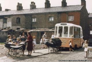 Ice cream van on terraced street, Manchester 1965