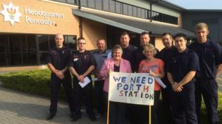 Porth fire station protest