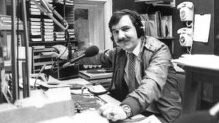 Presenter Steve Dewitt in the original Swansea Sound studio