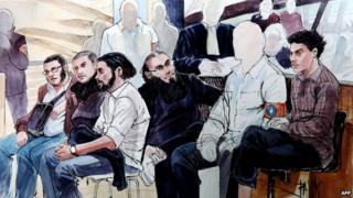 Court sketch showing Sharia4Belgium accused