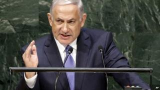Prime Minister Benjamin Netanyahu, speaks at the UN General Assembly meeting in New York - 29 September 2014