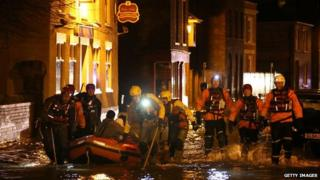 Rescue teams in Boston