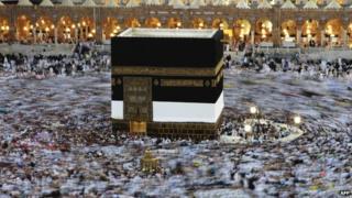 Muslim pilgrims circle around the kaaba in Mecca