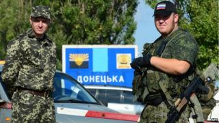 Pro-Russian rebels at Ukraine-Russia border, file pic