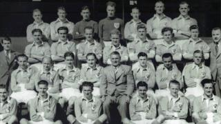 Hugh Doherty 2nd from right, 2nd row. Sir Stanley Mathews 1st from left, 2nd row.