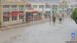 Flooded streets in Montpellier