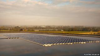 Floating solar panels