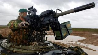 Live firing demo at Salisbury Plain, Wiltshire