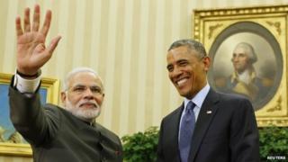 Mr Modi (left) and Mr Obama have pledged to improve Delhi-Washington ties