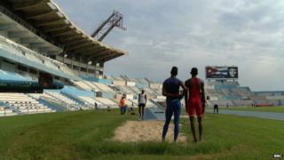 Cuban athletes in Havana in September 2014
